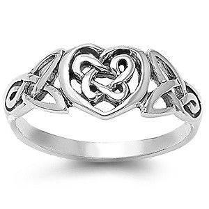 Sterling Silver Heart Celtic Knot Ring Fancy Designer Irish Band 925