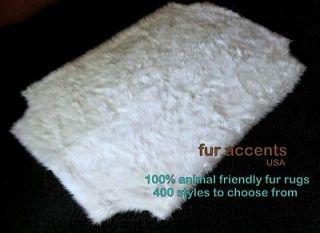 Scalloped Ivory WHITE BEAR AREA RUG Faux Fur Flokati SHEEPSKIN