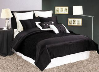 8pcs Solid Black Pleats Comforter Set Bed In A Bag Queen
