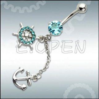 Button Barbell Bar Belly Navel Ring Body Piercing Anchor & Wheel