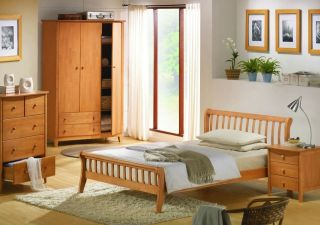MAPLE STAIN FINISH WOODEN SLEIGH BED FRAME / BEDSTEAD WITH HEADBOARD