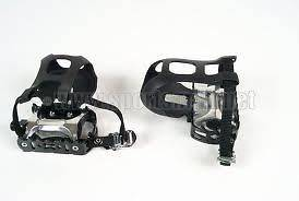 OF 9/16 ALLOY MOUNTAIN OR ROAD BIKE PEDALS WITH TOE CLIPS AND STRAPS