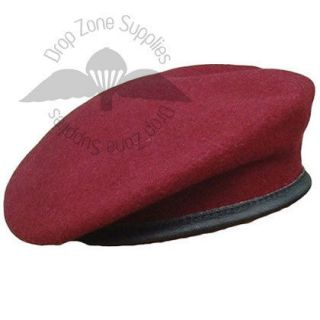 BRITISH MILITARY OFFICERS STYLE SMALL CROWN MAROON BERET FREE POST