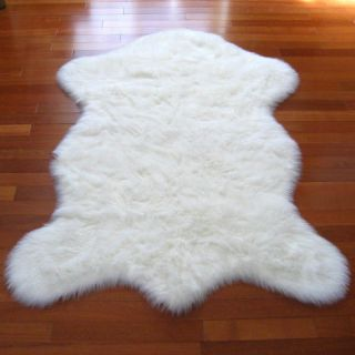 SNOWY WHITE POLAR BEAR FAUX FUR RUG 5X7 NEW