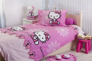 ORIGINAL   HELLO KITTY DUVET 3 PIECES BEDDING SET TWIN/SINGLE