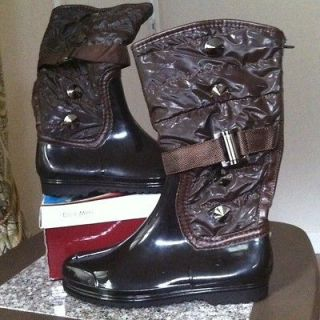 EDDIE MARC KIDS Brown Fashion Rain/Winter Boots Girls SZ 1 See Pix
