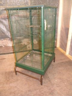LARGE GREEN METAL BIRD CAGE PARROT MCCAW WITH STAND BOWLS SWING