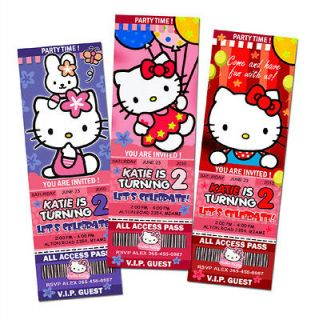HELLO KITTY BIRTHDAY PARTY INVITATION TICKET CUSTOM CARD INVITES