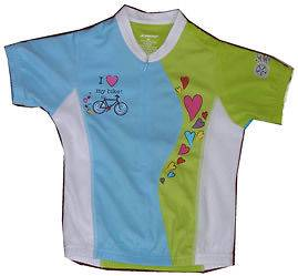 Girls HeartsTurquoise Cycling Shirt Bike Jersey
