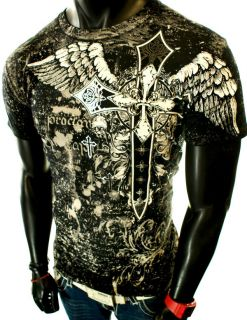 NEW MENS BLACK GRAPHIC UFC MMA CROSS BIRDS WINGS ANGEL ROYALTY CROWN T