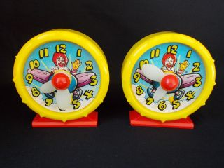 Lot of 1989 Mcdonalds Flying Ronald Happy Meal Plastic Toy Clock