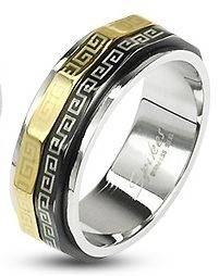 Stainless Steel Black Gold Maze Spinner Ring Band Size 5 6 7 8 9 10 11