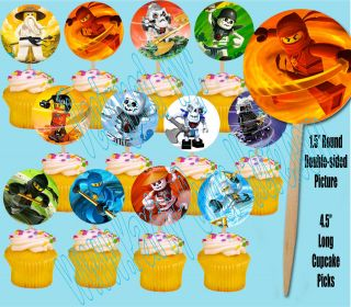 Ninjago Kids Video Game Double sided Images Cupcake Picks Cake Topper
