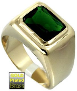 Mens Emerald Green Solitaire 18kt Gold Plated Ring