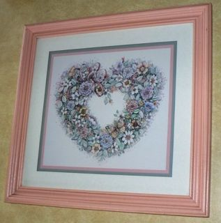 Home Interiors Floral Heart Wreath Picture with Butterflies & Ribbon