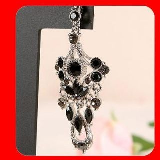 NEW FASHION WOMEN JEWELRY BLACK WHITE GOLD GP CRYSTAL DANGLE STUD