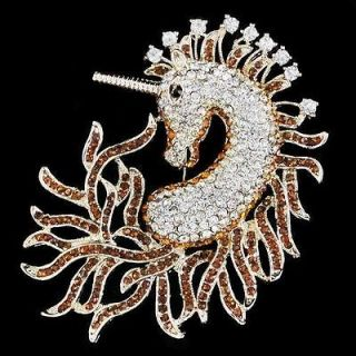 Top Sea Horse Unicorn Pin Brooch Rhinestone Crystal Topaz Animal