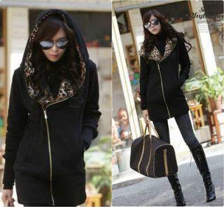 Black Winter Warm Women Leopard Hooded Zipper Pocket Section Sweater