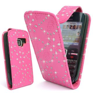 PINK GLITTER BLING LEATHER FLIP CASE COVER POUCH FOR NOKIA C3 / C3