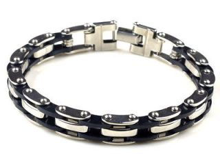 Quality Mens Stainless Steel Bracelet Silver Chain Black Rubber 8.5
