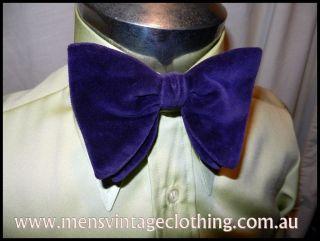 1970s Purple Wide Velvet Clip On Bow Tie Tuxedo Formal Wedding Singer