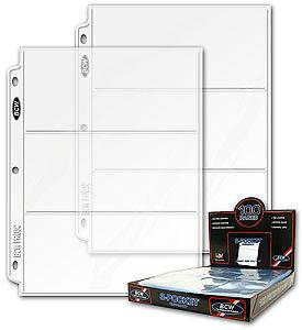 20 BCW 3 Pocket Currency Album Pages dollar bill coupon binder sheets