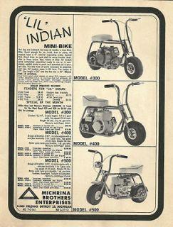 WOW Vintage & Rare 1960s Lil Indian Mini Bike Ad