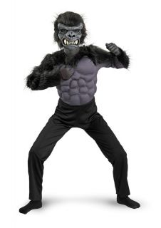 Boys Gorilla Suit Halloween Costume Black Ape Monkey Fur Suit S M L