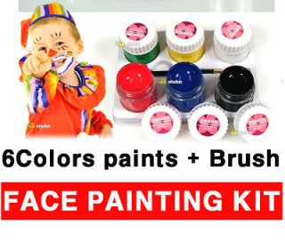face body painting paints kit 6colors x 10ml with brush non toxic