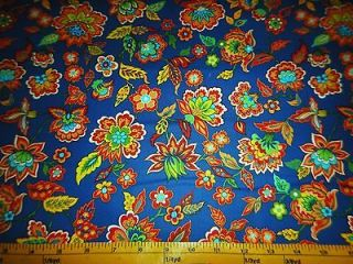 Provence Flowers & Paisley Allover Blue Cotton Fabric Heritage Studio