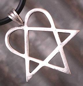 Heartagram Star Pewter Pendant W Black Rubber Necklace