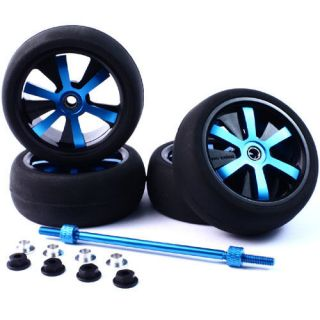Rims &Tire Set for 110 RC Suit TRAXXAS Tamiya HPI HBX Blue/Black
