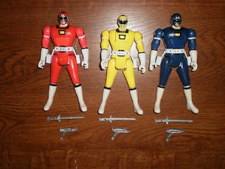 1997 Power Rangers Turbo Red,Blue,Yellow Triple Action Figures Lot w