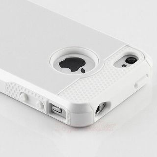 Pen+White Rugged Rubber Matte Hard Case Cover For iPhone 4 4S w