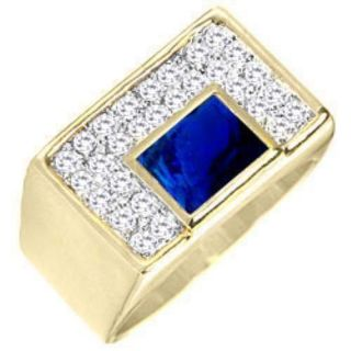 10,11 Jewelry Mans Blue Sapphire 10KT Yellow Gold Filled Ring Gift