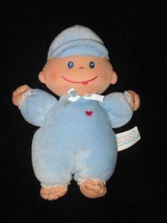 Made Toy Goo Goo Baby Boy Plush Doll Lovey Lovie Rattle Blue Hat Heart