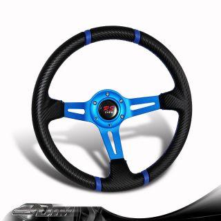 Universal JDM 6 Hole 320mm Black / Blue PVC Leather Steering Wheel