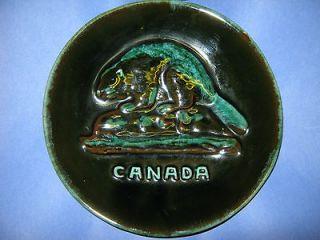 Blue Mountain Pottery Plate Dish Canada Beaver 8 Inch Diameter