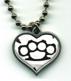 Go Go Lucky Charm Necklace Brass Knuckle Knuckles Duster NEW Goth Punk