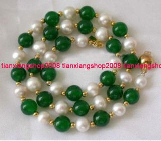 8MM White Akoya Cultured Pearl & Green Jade Necklace 25