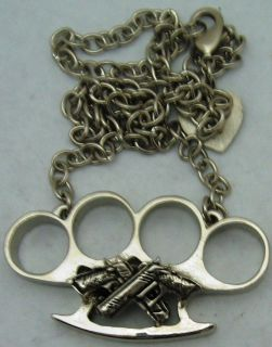 BRASS KNUCKLES CROSS GUNS DESIGN ORIGINAL ROCK REBEL NECKLACE PENDANT