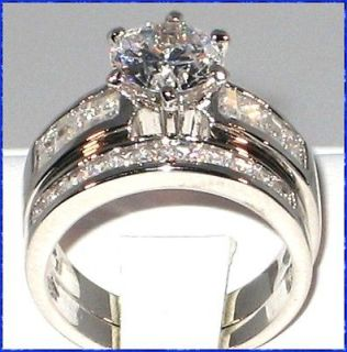 Anne CZ Platinum EP Bridal Wedding Ring Set SIZE 5 6 7 8 9 10
