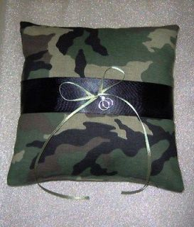 fatigue military Camouflage Ring Bearer Pillow w/ wedding rings charm