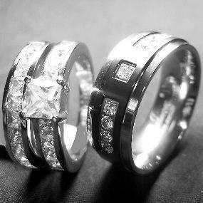 pieces Mens & Womens STAINLESS STEEL & TITANIUM wedding ring set