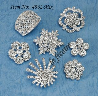 PICK~ Crystal Rhinestone Shank Button Brooch Buckle Charm Bridal