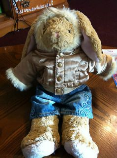 Build a Bear Floppy Ear Bunny Rabbit w/ Metallic Faux Fur Hoodie