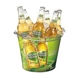 BUDWEISER BUD LIGHT LIME BEER LOGO METAL ICE BUCKET COOLER NEW