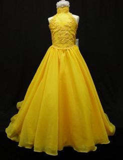 Girl National Glitz Pageant Bridal Formal Long Dress yellow 7 8 10 12