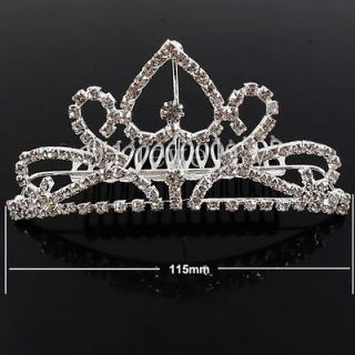 Bridal Wedding Princess Pageant Prom Crystal Crown Hair Barrette