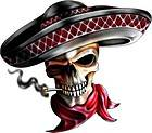 MEXICAN SKULL SOMBRERO GRAPHIC DECAL STICKER